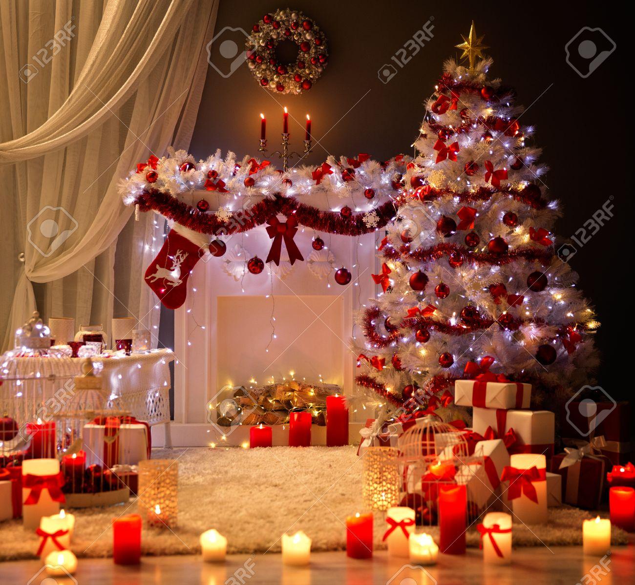 クリスマスインテリア, Xmas Tree Fireplace Light, Decorated Home Room